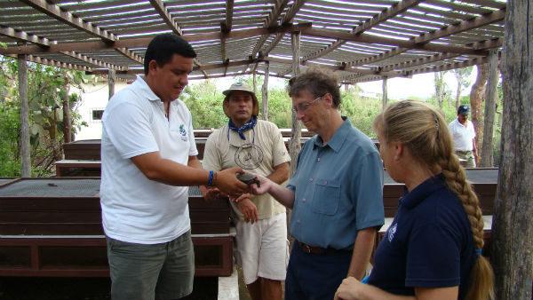 Bill Gates visiting the Galapagos Tortoises Shelter.