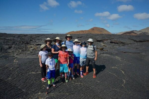 A family in the Galapagos Islands